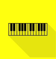 Piano keyboard sign black icon with flat style vector