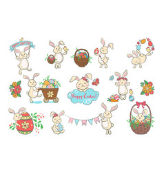 Set of cute easter bunnies vector