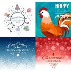 Set of merry christmas e-card template vector