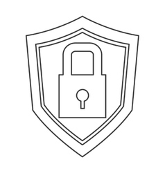Shield with safety lock icon vector