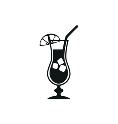 simple black stylish cocktail icon with ice vector image