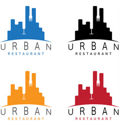 urban restaurant emblems set negative space vector image vector image