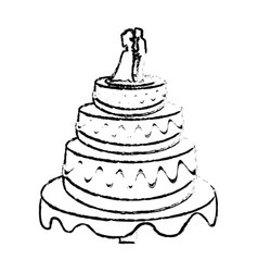 Wedding cake couple dessert sketch vector