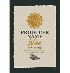 Wine label with a picture of the sun and moon vector