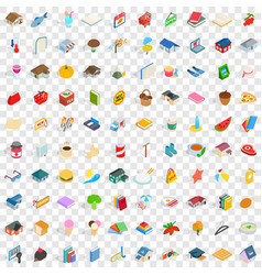 100 cute icons set isometric 3d style vector image vector image