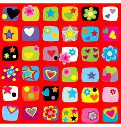 Wrapping paper design with flowers stars and vector