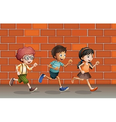 Kids running near wall vector