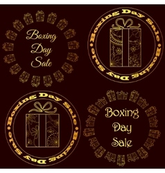 Boxing day sale stamps tags golden vector image