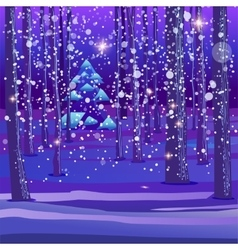 Night winter forest background vector
