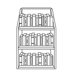 Bookcase icon in outline style isolated on white vector