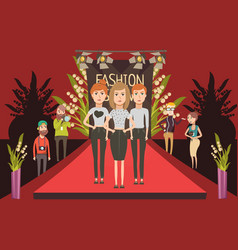 Fashion show catwalk composition vector