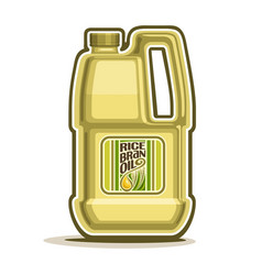 Big yellow plastic bottle with rice bran oil vector