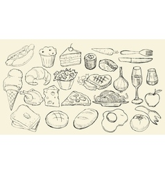 Drawn food collection vector