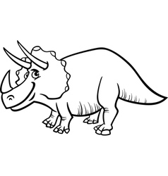 Triceratops dinosaur coloring page vector