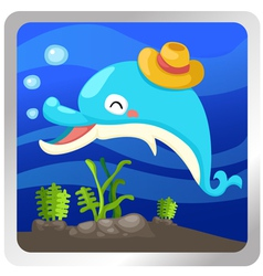 An isolated dolphin underwater vector