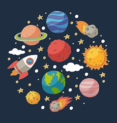 Doodle planets and the sun on blackboard vector