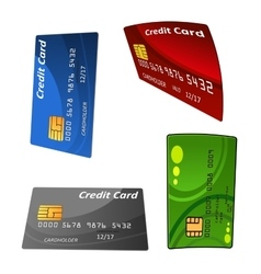 Set of colorful credit bank cards vector