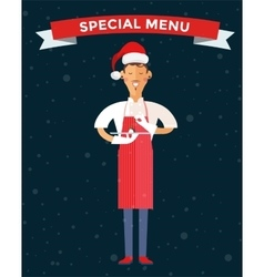 Special Christmas menu cook chef vector image