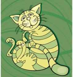 cat happy vector image