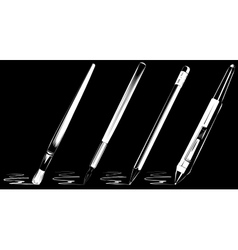 Brush set on black background vector
