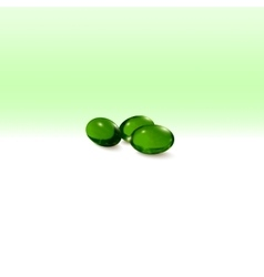 Pills isolated on green background vector