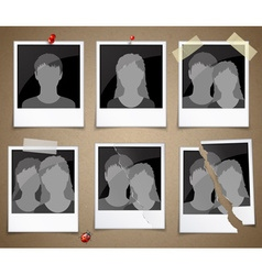 Set of photo frames with silhouettes vector