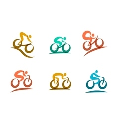 Colorful cycling and bicycles icons vector