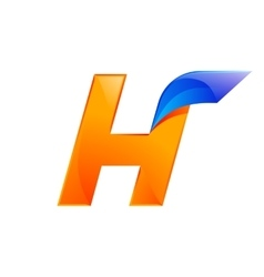 H letter blue and orange logo design fast speed vector