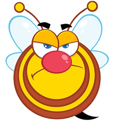 Angry bee cartoon character vector