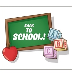Blocks apple and blackboard of back to school vector
