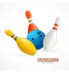 Bowling Ball Crashing Into The Pins vector image