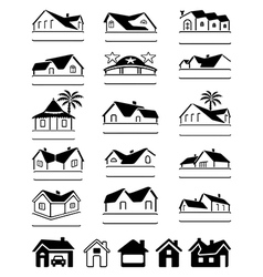 Buildings black signs logo set vector