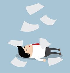 Businessman working hard until faint vector