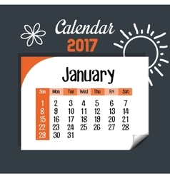 Calendar january 2017 template icon vector