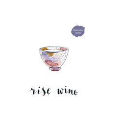 ceramic bowl of rise wine vector image vector image