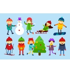 Christmas kids playing winter games skating vector
