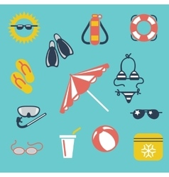 Colorful summer flat icons vector image vector image