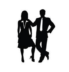 couple silhouette business in black color vector image