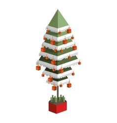 Decorated green christmas tree with pixel design vector