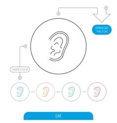 Ear icon hear or listen sign vector