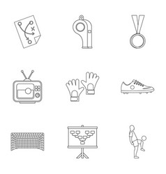 football briefing icons set outline style vector image vector image