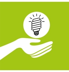 hands together environment bulb energy concept vector image vector image