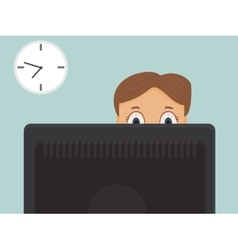 Hard working businessman with red eyes in office vector