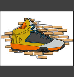 high sneakers orange-yellow lacing on the vector image vector image