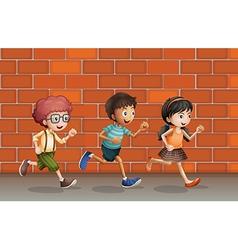 Kids running near wall vector image vector image