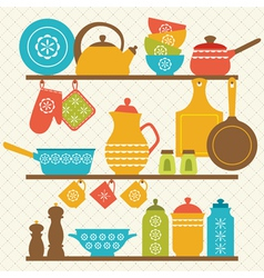 Kitchen shelves vector