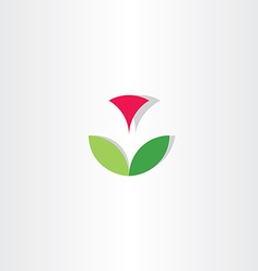 Letter v flower circle icon vector