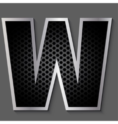 Metal grid font - letter w vector