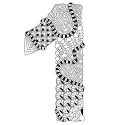 number one zentangle decorative number vector image vector image