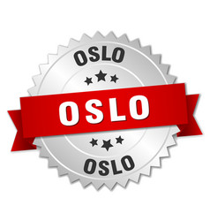 Oslo round silver badge with red ribbon vector